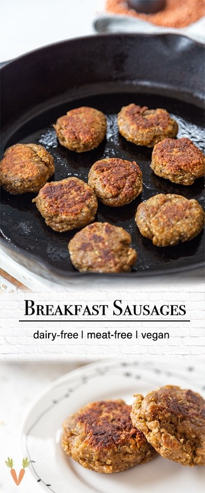 A Pinterest pin for vegan breakfast sausage patties with 2 pictures of the sausage.