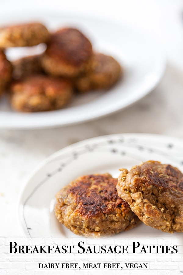 A Pinterest pin for vegan breakfast sausage patties with one picture of the sausage.