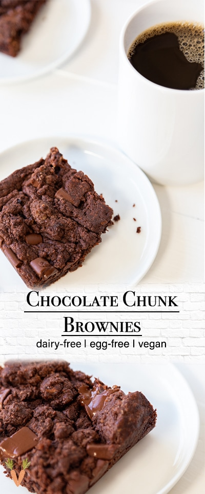 A PInterest pin for vegan chocolate chunk brownies with 2 pictures of the brownies.