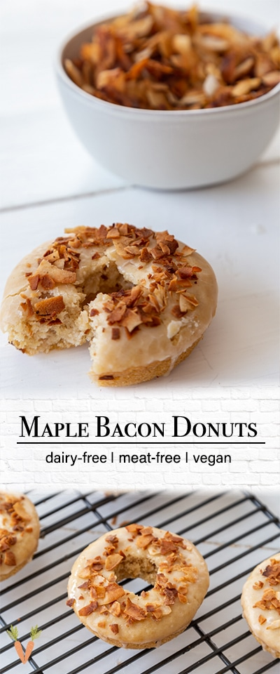 A Pinterest pin for vegan maple glazed doughnuts with two pictures of the doughnuts.