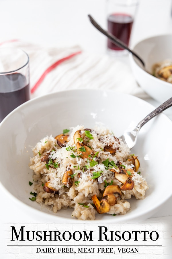 A Pinterest pin for vegan mushroom risotto with a picture of a bowl of the risotto.