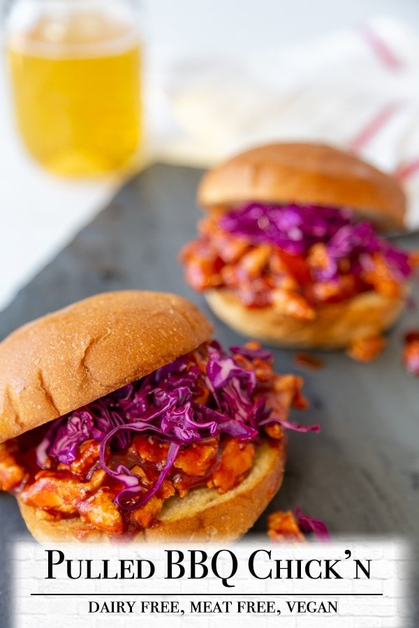 A Pinterest pin for vegan pulled BBQ chicken with a picture of the BBQ sandwiches.