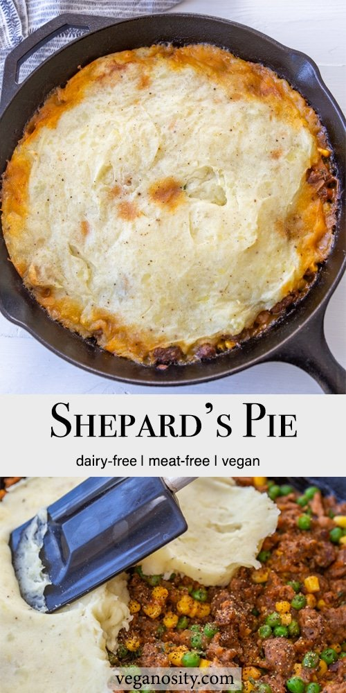 A Pinterest pin for vegan sheperd's pie with 2 pictures of the pie.