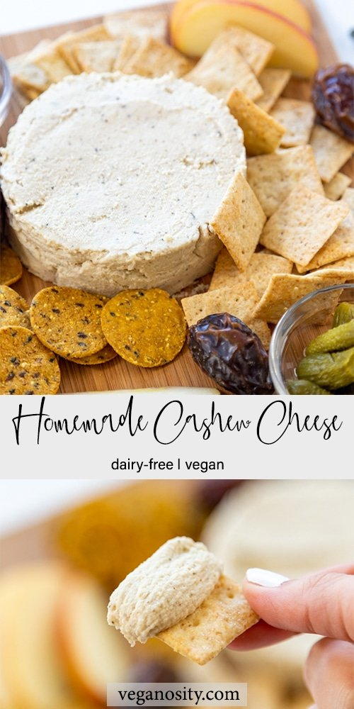 A Pinterest pin for cashew cheese with two pictures of the cheese.