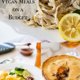 A collage of vegan meals you can make on a budget.