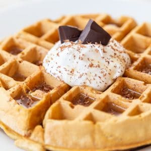 A Belgian waffle with whipped topping, chocolate shavings, and chocolate pieces sticking out of the whipped cream on a white plate.