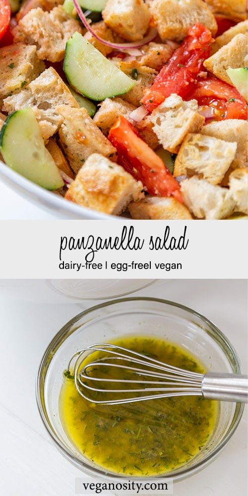 A Pinterest pin for Panzanella salad with a picture of the salad in a white bowl and a photo of a clear glass bowl with the salad dressing and a whisk.