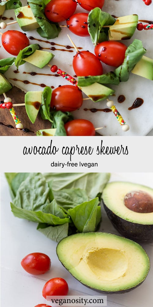 A Pinteres pin for vegan avocado caprese skewers with a picture of the ingredients and a picture of the finished skewers.