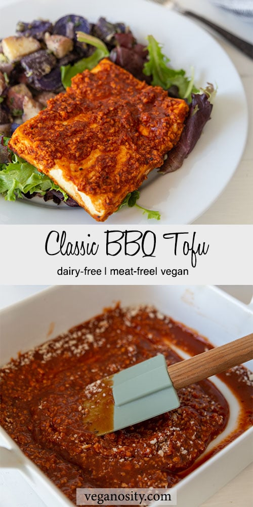 A Pinterest pin for bbq tofu with a picture of the tofu on a white plate with potato salad and a dish of the barbecue sauce.
