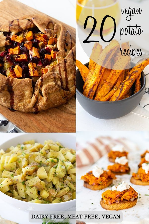 A Pinterest pin for 20 vegan potato recipes with 4 pictures of potato recipes.