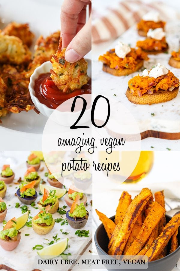 A Pinterest pin for 20 vegan potato recipes with pictures of potato recipes.
