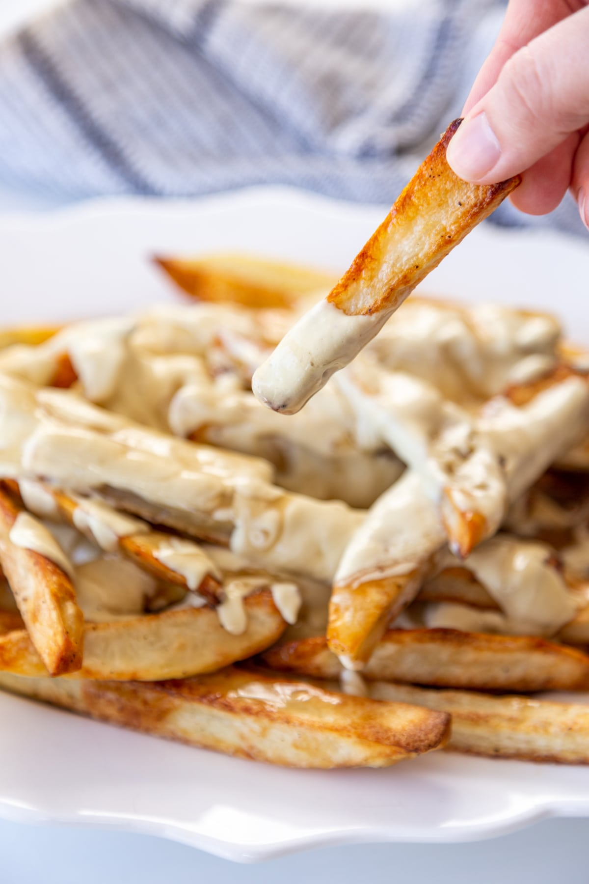 A white oval platter with poutine and a hand taking a fry with cheese sauce off of the plate.