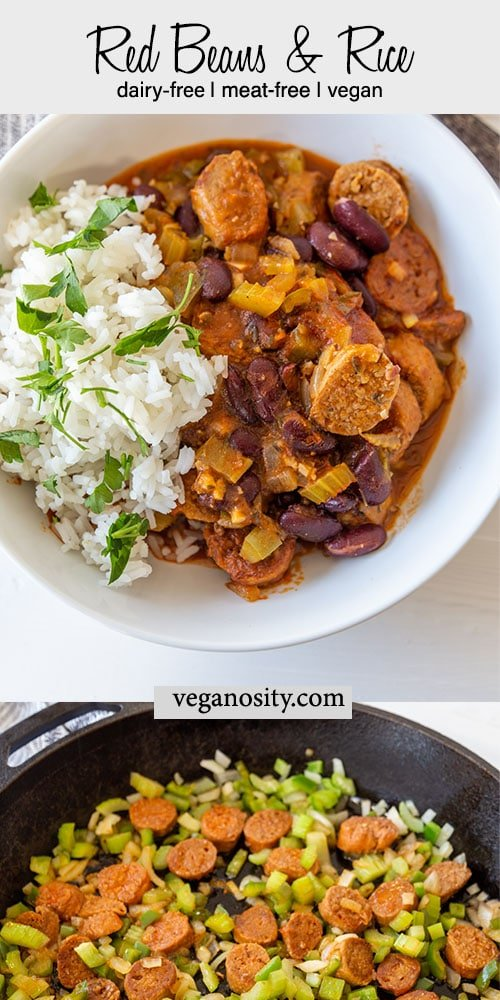 A Pinterest pin for vegan red beans and rice with 2 pictures. One is of the vegetables and sausage cooking and the other of a white bowl with the red beans and rice.
