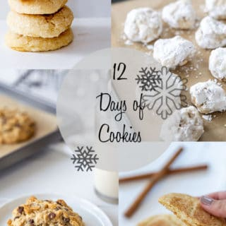 A collage of the 12 days of vegan cookies, with pictures of various kinds of cookies.