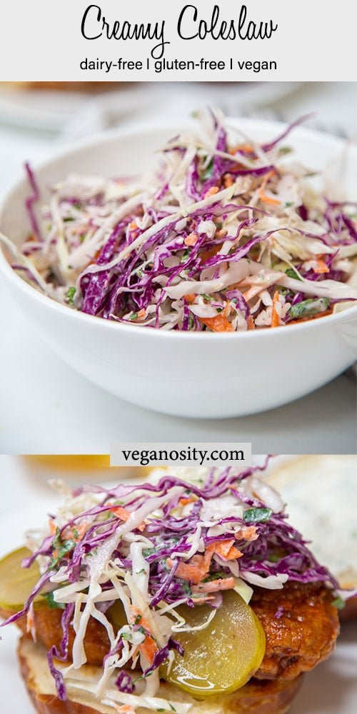 A Pinterest pin for creamy vegan coleslaw with a picture of the slaw in a white bowl and another picture of it piled on top of a sandwich.