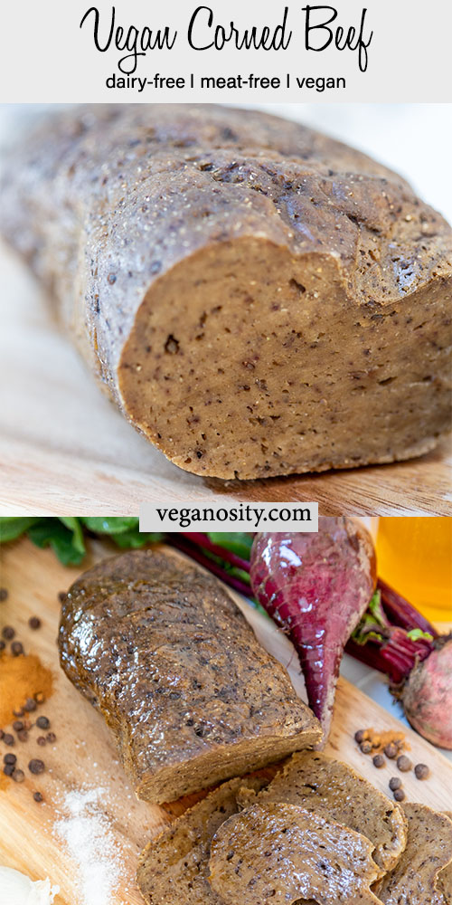 A Pinterest pin for vegan corned beef with a picture of the roast and a picture of a sliced roast.