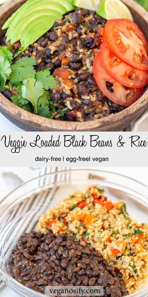 A Pinterest pin for veggie loaded black beans and rice with a picture of the finished recipe in a wood bowl and of the beans and the rice and veggies in a glass bowl.
